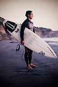 Portrait: surfer, Vic Dejesus at Black's Beach, LaJolla San Diego