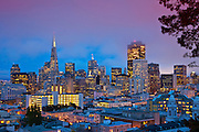 Skyline City View of San Francisco At Night