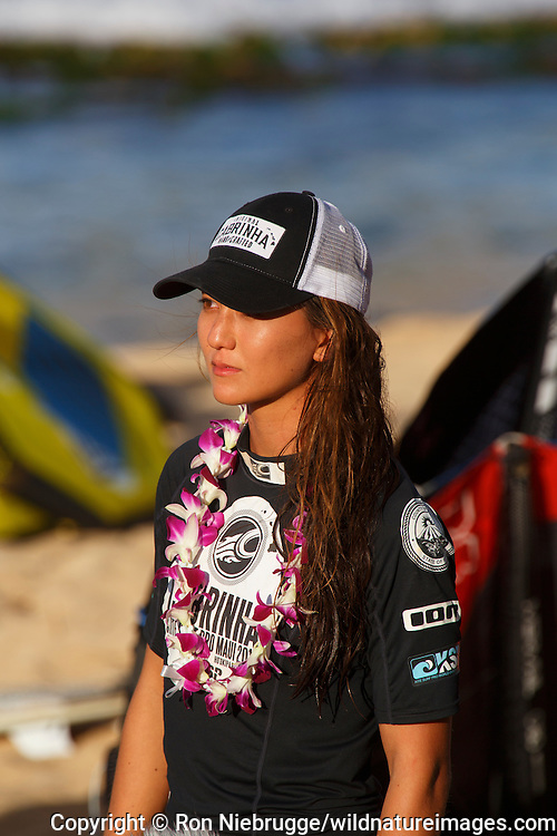 Moona Whyte who was crowned world champion at the 2013 Kite Surf Pro World Championships held nearby at Ho'okipa Beach, Maui, Hawaii.
