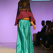 London,England,UK, 10th September 2016:  Models wearing Designer AAugust latest collection at the Africa Fashion Week London, 2016 at West Hall Olympia London ,UK. Photo by See Li/Picture Capital