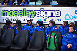 6 January 2018 -  The FA Cup - 3rd Round - Coventry City v Stoke City - The Stoke City substitutes bench, filled with high profile names including Xherdan Shaqiri, Eric Maxim Choupo-Moting and Peter Crouch - Photo: Marc Atkins/Offside