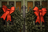 Christmas wreaths on the church gates on Friday, Oct. 30, 2020, at Historic Trinity Lutheran Church, Detroit. LCMS Communications/Erik M. Lunsford
