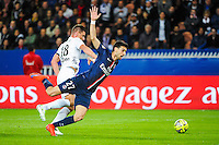 Javier PASTORE / Jeremy CHOPLIN - 28.04.2015 - Paris Saint Germain / Metz - Match en retard - 32eme journee Ligue 1<br />Photo : Nolwenn Le Gouic / Icon Sport