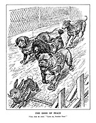 """The Dogs of Peace. Voices from the crowd. """"Come on, Number Four!"""" (Dog racing with the British Bulldog, French Poodle, German Sausage Dog and Italian Greyhound chasing the Appeasement rabbit)"""