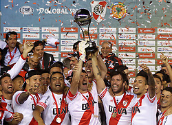 10.12.2014, River Plate Stadium, Buenos Aires, ARG, Südamerika Cup 2014, River Plate vs Atletico Nacional de Medellin, im Bild River Plate players with captian Marcelo Barovero (center, left) and Fernando Cavenaghi (center, right) from argentinian?s football team, celebrates its tryumph // during the 2nd final match of Southamerican Cup between River Plate vs Atletico Nacional and Medellin at the River Plate Stadium in Buenos Aires, Argentina on 2014/12/10. EXPA Pictures © 2014, PhotoCredit: EXPA/ Eibner-Pressefoto/ Cezaro<br /> <br /> *****ATTENTION - OUT of GER*****