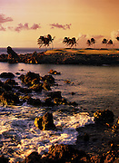 A view at sunset of a coastal golf course in Hawaii