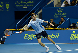 Andrey Rublev of Russia returns the ball to Guido Pella of Argentina during their semi final  of ATP Qatar Open Tennis match at the Khalifa International Tennis Complex in Doha, capital of Qatar, on January 05, 2018. Andrey Rublev won 2-1  (Credit Image: © Nikku/Xinhua via ZUMA Wire)