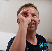 Simon Black, from Timaru, takes an early lead in his match today during the  South Island Masters Darts competition. <br /> Timaru Cosmopolitan Club<br /> 2020 South Island Masters Games, DARTS<br /> Photo Kevin Clarke CMGSPORT<br /> 14/10/2020<br /> ©cmgsport2020