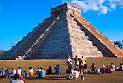 MEXICO, MAYAN, CHICHEN ITZA El Castillo with serpant shadow at equinox
