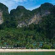 Panorama of Centara Grand Resort, limestone cliffs and beach near Ao Nang, Krabi province, Thailand