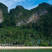 Panorama of Centara Grand Resort, limestone cliffs and beach near Ao Nang, Krabi province, Thailand
