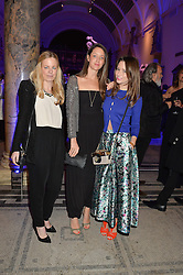 Left to right, ASTRID HARBORD, INDIA LANGTON and KELLY EASTWOOD at a private view of Alexander McQueen's Savage Beauty exhibition hosted by Samsung BlueHouse at the V&A, London on 30th March 2015.