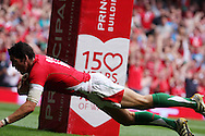 James Hook of Wales dives between the posts to score his 1st half try. Wales v South Africa,    at Millennium Stadium in Cardiff on Sat 5th June 2010. pic by Andrew Orchard,  Andrew Orchard sports photography,