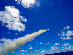 May 26, 2019 - Uss Antietam, United States - The U.S Navy Ticonderoga-class guided-missile cruiser USS Antietam launches a harpoon surface-to-surface missile during exercise Pacific Vanguard May 26, 2019 in the Philippines Sea. Pacific Vanguard is a multilateral exercise between Australia, Japan, Republic of Korea, and U.S. Naval forces. (Credit Image: © Marissa Liu via ZUMA Wire)