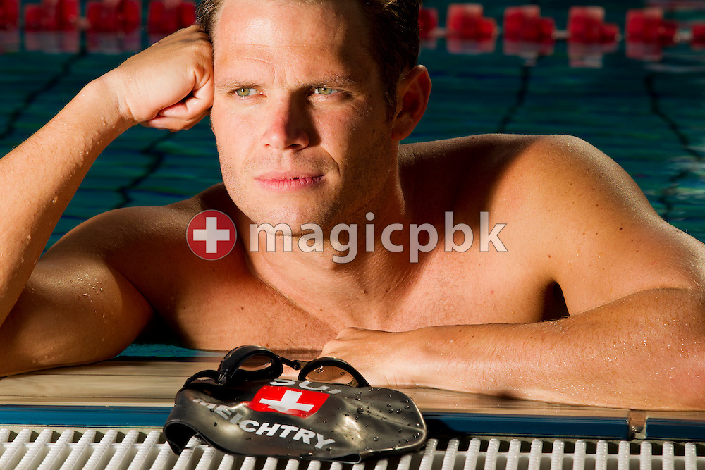 Swimmer Dominik MEICHTRY of Switzerland is pictured during a photo session at the 50m outdoor training pool at the Centro sportivo nazionale della gioventu in Tenero, Switzerland, Thursday, July 19, 2012. (Photo by Patrick B. Kraemer / MAGICPBK)