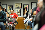 Kimmy Ngo watches from the back of the room after receiving an Achievement award during the Calaveras Hills High School Awards Night & Art Show at Calaveras Hills High School in Milpitas, California, on May 7, 2014. (Stan Olszewski/SOSKIphoto)