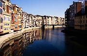 Historic buildings on the River Onyar, Girona, Catalonia, Spain
