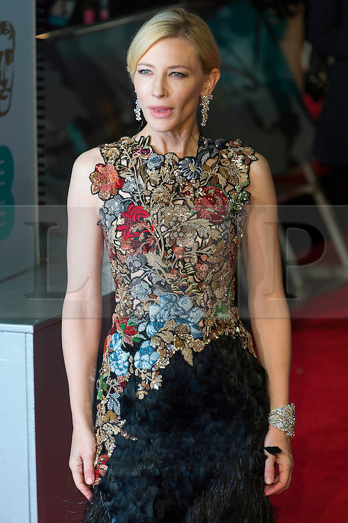 © Licensed to London News Pictures. 14/02/2016. London, UK. CATE BLANCHETT arrives on the red carpet at the EE British Academy Film Awards 2016 Photo credit: Ray Tang/LNP