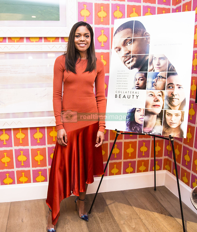 December 2, 2016 - New York, New York, U.S. - NAOMIE HARRIS promotes movie 'Collateral Beauty.' Naomie Melanie Harris (born September 6, 1976) is an English actress. She played voodoo witch Tia Dalma in the second and third Pirates of the Caribbean films, Selena in 28 Days Later, and Winnie Mandela in Mandela: Long Walk to Freedom. She played Eve Moneypenny in the James Bond films Skyfall and Spectre. pcoming: Jungle Book (2018), Collateral Beauty (2016), Moonlight (2016) Our Kind of Traitor (2016). (Credit Image: © Armando Gallo via ZUMA Studio)