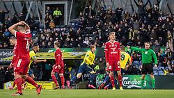 Simon Hedlund (Brøndby IF) jubler efter scoringen til 1-0 under kampen i 3F Superligaen mellem Brøndby IF og Lyngby Boldklub den 1. marts 2020 på Brøndby Stadion (Foto: Claus Birch).