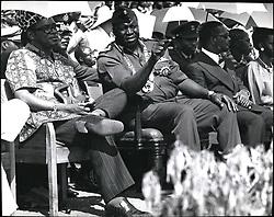 Jan. 01, 1976 - President Idi Amin (center0 watching the Military Parade with on his right President Mobutu of Zaire and President Bokessa on his left. (Credit Image: © Keystone Press Agency/Keystone USA via ZUMAPRESS.com)