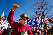 """07 NOVEMBER 2020 - DES MOINES, IOWA: A man chants """"Stop the Steal"""" during a """"Stop the Steal"""" rally Saturday. They were protesting the ongoing efforts to count the votes in states like Arizona and Nevada. There were rival election rallies at the State Capitol in Des Moines Saturday. About 1,000 supporters of President Donald Trump gathered on the steps of the State Capitol and called for an end to vote counting. About 300 supporters of President Elect Joe Biden gathered in People's Plaza, on the south lawn of the Capitol, and called for the vote count to continue until every vote was counted.      PHOTO BY JACK KURTZ"""