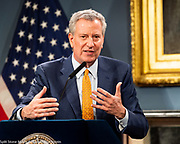 March 15, 2020 - New York, NY, United States: New York City Mayor Mayor Bill de Blasio (D) speaking at a press conference about COVID-19 and the closing of K-12 public schools in New York City.