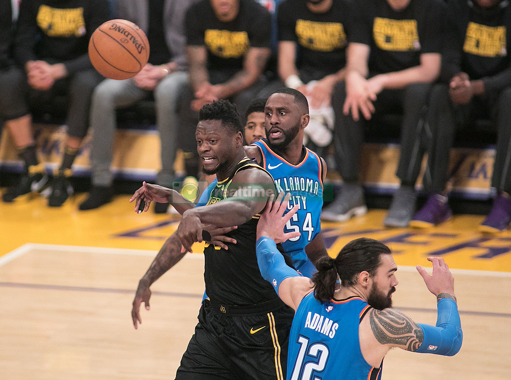February 8, 2018 - Los Angeles, California, U.S - Julius Randle #30 of the Los Angeles Lakers passes the ball during their NBA game with the Oklahoma Thunder on Thursday February 8, 2018 at the Staples Center in Los Angeles, California. Lakers vs. Thunder. (Credit Image: © Prensa Internacional via ZUMA Wire)