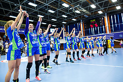 National team of Slovenia after qualifying to world championship  after match between Slovenia and Croatia in Dvorana Golovec , Celje, Slovenia. Photo by Grega Valancic / Sportida