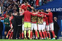 esultanza gol Ashley Williams goal celebration<br /> Lille 01-07-2016 Stade Pierre Mauroy Football Euro2016 Wales - Belgium / Galles - Belgio <br /> Quarter-finals. Foto Matteo Gribaudi/Image Sport/ Insidefoto
