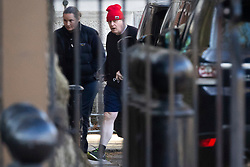 © Licensed to London News Pictures. 27/04/2021. London, UK. Prime Minister Boris Johnson returns to Downing Street following his morning exercise. The Prime Minster has recently come under criticism from his former chief advisor Dominic Cummings. Photo credit: George Cracknell Wright/LNP