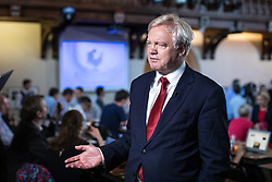 © Licensed to London News Pictures. 31/05/2017. Cambridge, UK. Secretary of State for Exiting the European Union David Davis is interviewed in the spin room ahead of the BBC General Election Debate. Photo credit: Rob Pinney/LNP
