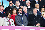England Manager Gareth Southgate (c) looks on from the stands. Premier league match, Stoke City v Leicester City at the Bet365 Stadium in Stoke on Trent, Staffs on Saturday 4th November 2017.<br /> pic by Chris Stading, Andrew Orchard sports photography.