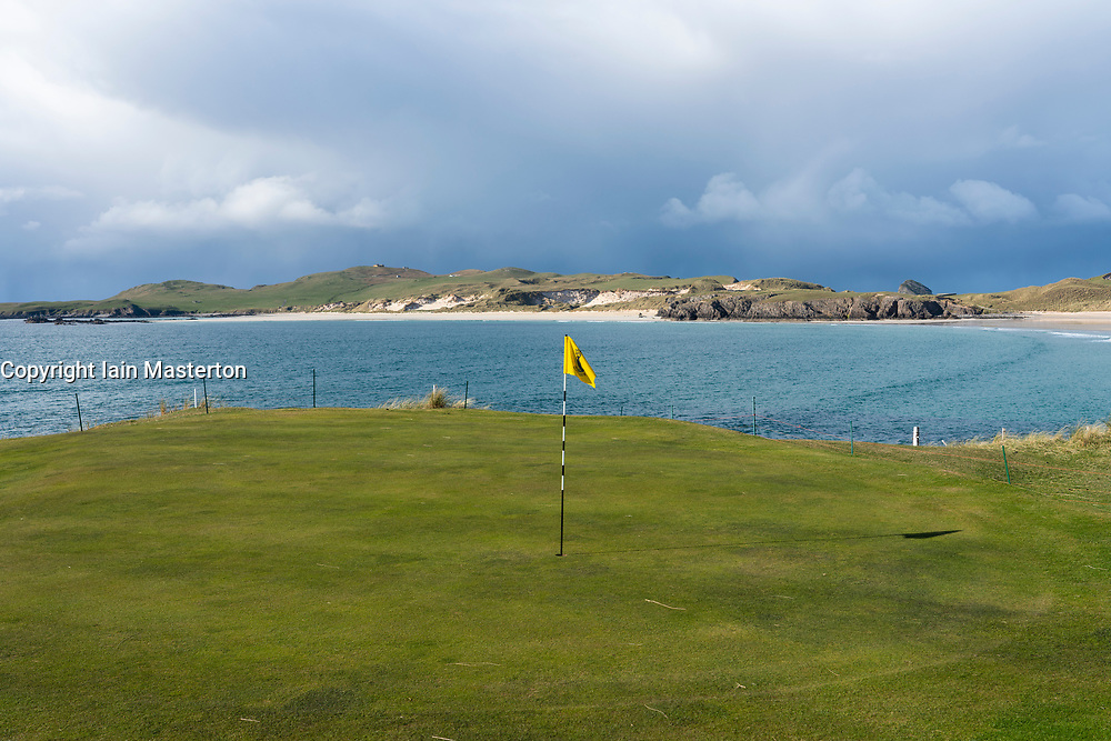 Durness Golf Course at Balnakeil Bay  in Durness on the North Coast 500 scenic driving route in northern Scotland, UK