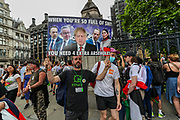 London, United Kingdom, June 26, 2021: Protestors of multiple causes gathered outside the Westminster Palace, Parliament Square on Saturday, June 26, 2021 - demanding an end of lockdown measures, no covid19 passports, against the police and criminal sentencing bill, as well as for the freedom of Palestine and against Israeli apartheid in occupied Palestine. People later joined a rave music gathering in hyde park near Marble Arch. (VX Photo/ Vudi Xhymshiti)