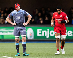Seb Davies of Cardiff Blues<br /> <br /> Photographer Simon King/Replay Images<br /> <br /> European Rugby Champions Cup Round 4 - Cardiff Blues v Saracens - Saturday 15th December 2018 - Cardiff Arms Park - Cardiff<br /> <br /> World Copyright © Replay Images . All rights reserved. info@replayimages.co.uk - http://replayimages.co.uk