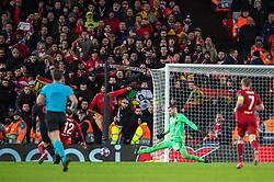LIVERPOOL, ENGLAND - Wednesday, March 11, 2020: Liverpool's goalkeeper Alisson Becker is beaten for the third goal during the UEFA Champions League Round of 16 2nd Leg match between Liverpool FC and Club Atlético de Madrid at Anfield. (Pic by David Rawcliffe/Propaganda)