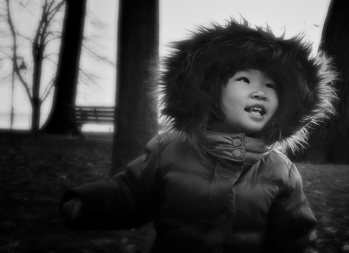 Abbigail enjoys a brisk autumn morning. Family portraits by Dean Oros.