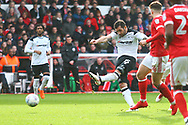 Derby's Bradley Johnson shoots at goal during the EFL Sky Bet Championship match between Nottingham Forest and Derby County at the City Ground, Nottingham, England on 11 March 2018. Picture by John Potts.