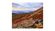 The Frenchman Bay and Atlantic Ocean as seen from Cadillac Mountain at dawn, Acadia National Park, Maine, USA