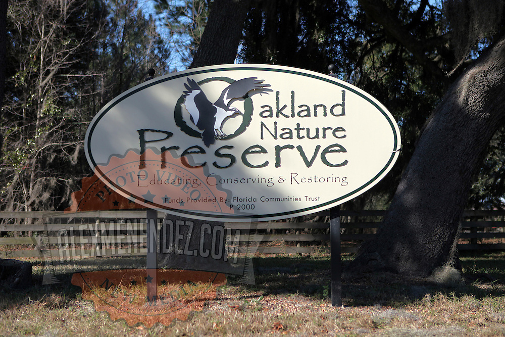 Oakland Nature Preserve signage along the Green Mountain Scenic Highway in Clermont, Florida. (AP Photo/Alex Menendez) Florida scenic highway photos from the State of Florida. Florida scenic images of the Sunshine State.
