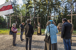 April 29, 2019 - Minsk, Minsk, Belarus - Activists celebrate a holy mass in Kurapaty forest near Minsk, Belarus. Thousands of oppositors of Stalin regimen were executed by the NKVD police in Kurapaty. There were demonstrations of citizens against the  removal of memorial crosses by authorities. (Credit Image: © Celestino Arce Lavin/ZUMA Wire)