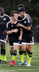 20 June 2015. New Orleans, Louisiana.<br /> National Premier Soccer League. NPSL. <br /> Jesters 1 - Knoxville 1.<br /> Goal celebrations for Knoxville's No 11. Knoxville scores first as the New Orleans Jesters play Knoxville Force at home in the Pan American Stadium. Jesters drew 1-1 with Knoxville.<br /> Photo; Charlie Varley/varleypix.com