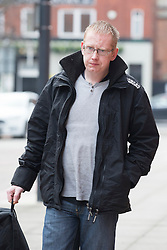 © Licensed to London News Pictures. 24/02/2016. Leeds UK. Matthew Ingham arrives at Leeds Magistrates court this morning for sentence. Ingham was found guilty of theft while former partner Kim Ager admitted handling stolen goods worth £3234 . The couple stole laptops & video equipment from the Leeds General Infirmary cancer ward where their son Callum was being treated for Neuroblastoma, a cancer which attacks the nervous system. Photo credit: Andrew McCaren/LNP