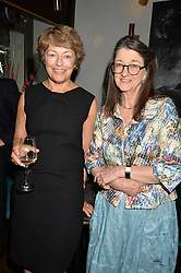 Left to right, FLORA FRASER and DAME MARINA WARNER at a dinner hosted by Lucy Yeomans and Amanada Foreman to celebrate the launch of the film Georgiana, Duchess of Devonshire held at sackville's, Sackville Street, London on 7th September 2015.
