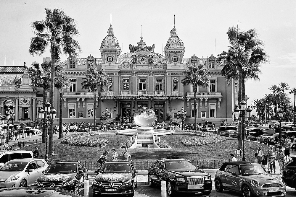 Black and white view of the Monte Carlo Casino and Sky Mirror, Monaco, France.