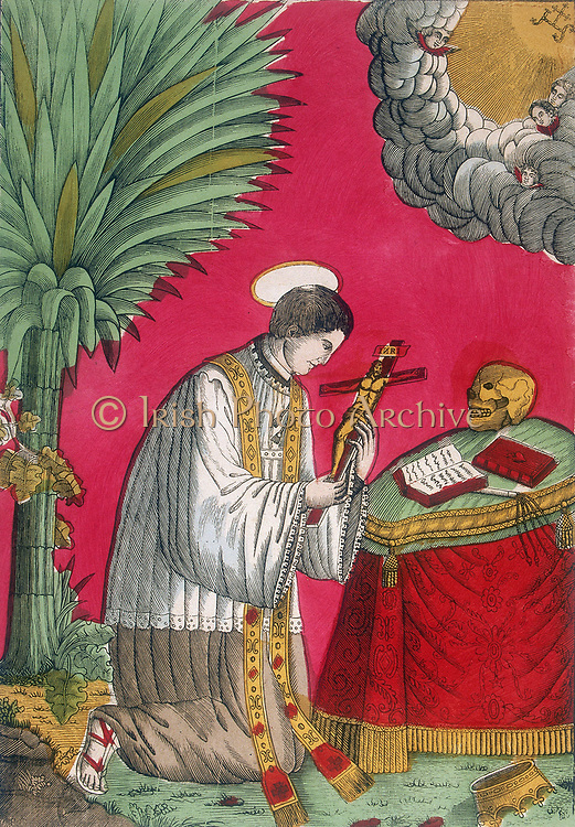 St Louis of Gonzaga. The saint in priest's robes kneels before altar, contemplating a crucifix while a gap in the clouds allows a view of Heaven with the letters (1HS) symbolising Christ.   19th French coloured woodcut.