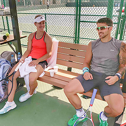 """Angelique Kerber releases a photo on Instagram with the following caption: """"Hitting the practice court in Monterrey \ud83c\uddf2\ud83c\uddfd @TipsarevicJanko \ud83d\ude0e"""". Photo Credit: Instagram *** No USA Distribution *** For Editorial Use Only *** Not to be Published in Books or Photo Books ***  Please note: Fees charged by the agency are for the agency's services only, and do not, nor are they intended to, convey to the user any ownership of Copyright or License in the material. The agency does not claim any ownership including but not limited to Copyright or License in the attached material. By publishing this material you expressly agree to indemnify and to hold the agency and its directors, shareholders and employees harmless from any loss, claims, damages, demands, expenses (including legal fees), or any causes of action or allegation against the agency arising out of or connected in any way with publication of the material."""