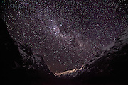 The Milky Way and an expanse of stars over the Upper Hollyford Valley, Fiordland, New Zealand