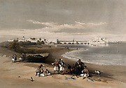 Sidon, with fishermen and other figures in the foreground. Coloured lithograph by Louis Haghe after David Roberts, 1843.